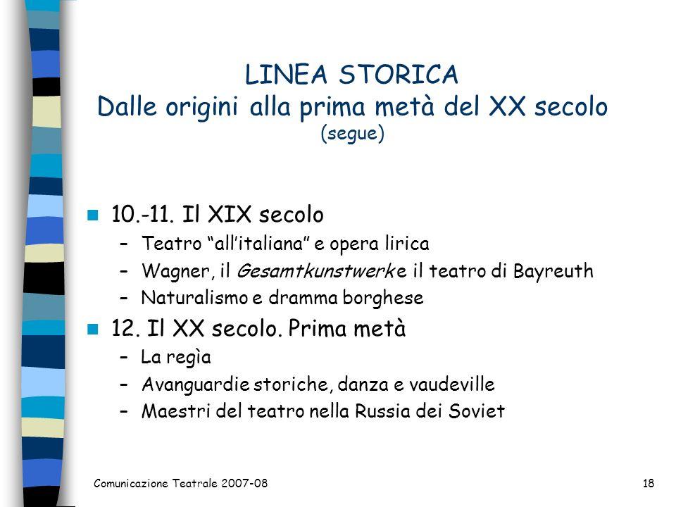 LINEA STORICA Dalle origini alla prima metà del XX secolo (segue) 10.-11. Il XIX secolo –Teatro allitaliana e opera lirica –Wagner, il Gesamtkunstwerk
