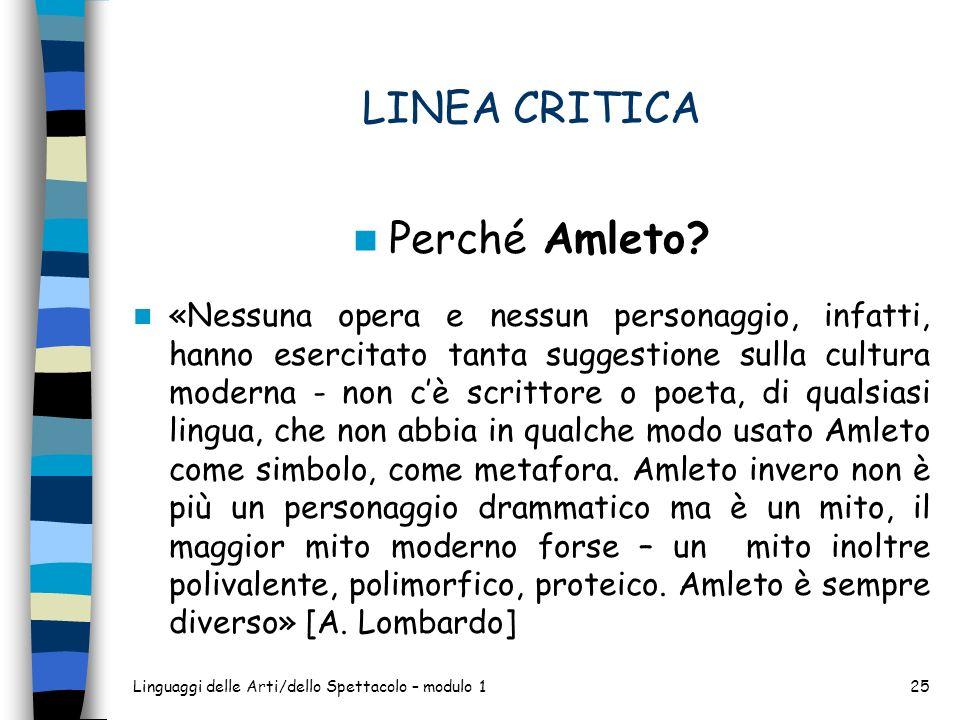 LINEA CRITICA Perché Amleto? «Nessuna opera e nessun personaggio, infatti, hanno esercitato tanta suggestione sulla cultura moderna - non cè scrittore