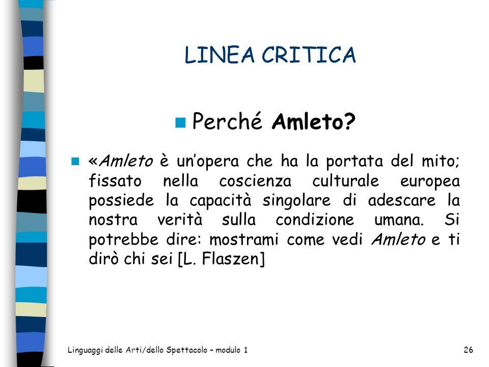 LINEA CRITICA Perché Amleto.