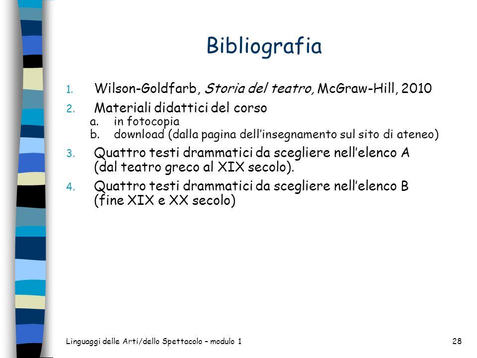 Linguaggi delle Arti/dello Spettacolo – modulo 128 Bibliografia 1. Wilson-Goldfarb, Storia del teatro, McGraw-Hill, 2010 2. Materiali didattici del co
