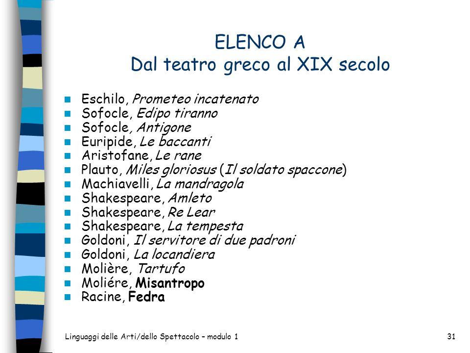 Linguaggi delle Arti/dello Spettacolo – modulo 131 ELENCO A Dal teatro greco al XIX secolo Eschilo, Prometeo incatenato Sofocle, Edipo tiranno Sofocle