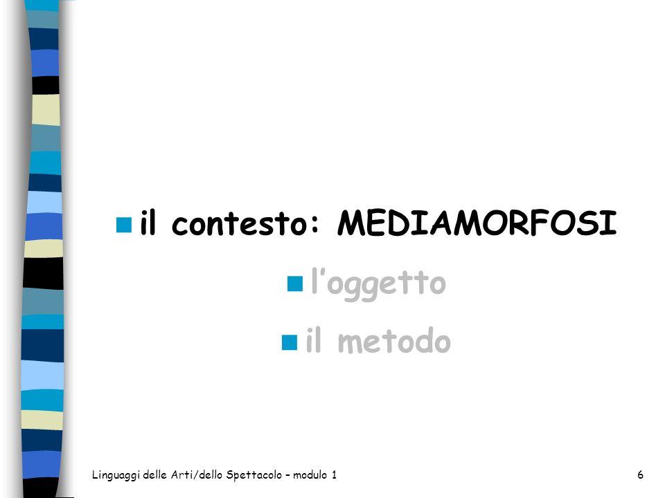 Linguaggi delle Arti/dello Spettacolo – modulo 16 il contesto: MEDIAMORFOSI loggetto il metodo