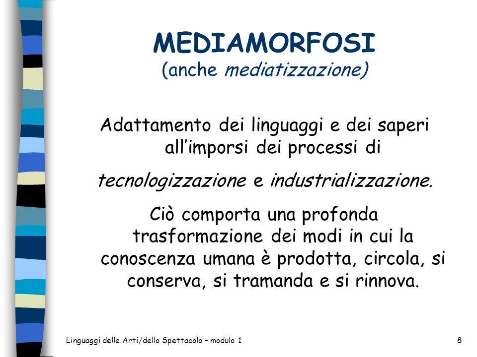 Linguaggi delle Arti/dello Spettacolo – modulo 18 MEDIAMORFOSI (anche mediatizzazione) Adattamento dei linguaggi e dei saperi allimporsi dei processi di tecnologizzazione e industrializzazione.