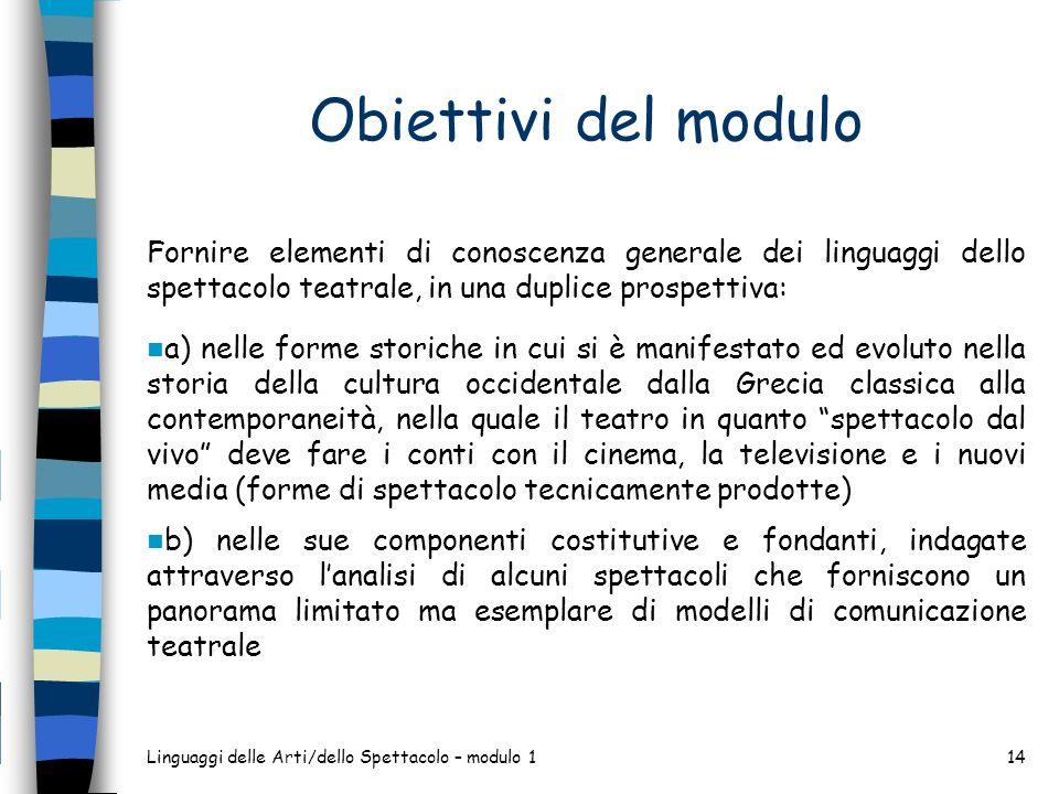 Obiettivi del modulo Fornire elementi di conoscenza generale dei linguaggi dello spettacolo teatrale, in una duplice prospettiva: a) nelle forme stori