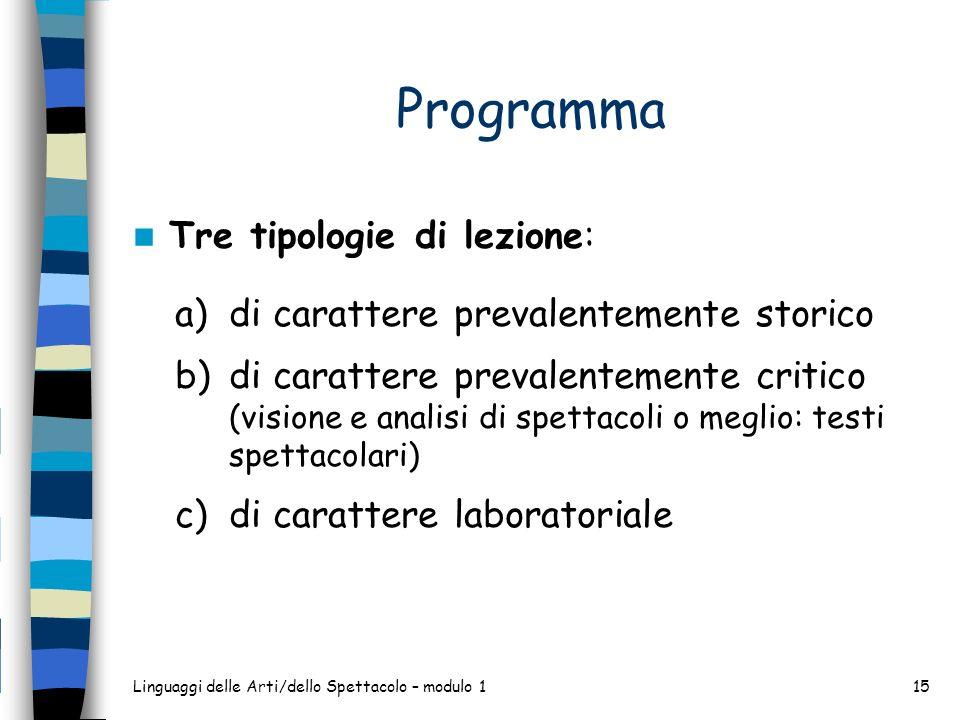 Programma Tre tipologie di lezione: a)di carattere prevalentemente storico b)di carattere prevalentemente critico (visione e analisi di spettacoli o m