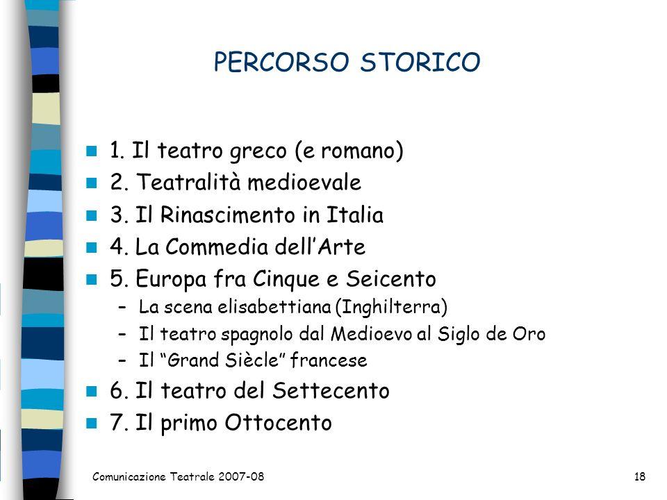 PERCORSO STORICO 1. Il teatro greco (e romano) 2. Teatralità medioevale 3. Il Rinascimento in Italia 4. La Commedia dellArte 5. Europa fra Cinque e Se