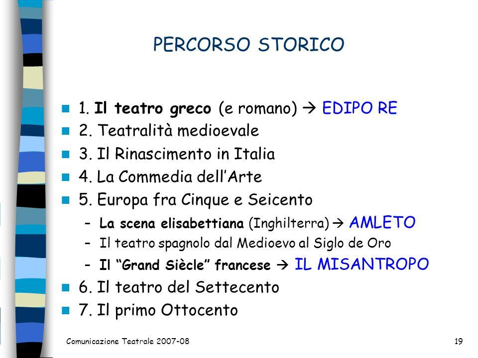PERCORSO STORICO 1. Il teatro greco (e romano) EDIPO RE 2. Teatralità medioevale 3. Il Rinascimento in Italia 4. La Commedia dellArte 5. Europa fra Ci