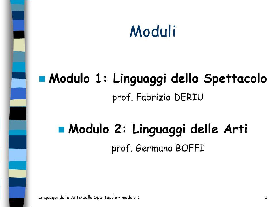 Moduli Modulo 1: Linguaggi dello Spettacolo prof. Fabrizio DERIU Modulo 2: Linguaggi delle Arti prof. Germano BOFFI Linguaggi delle Arti/dello Spettac