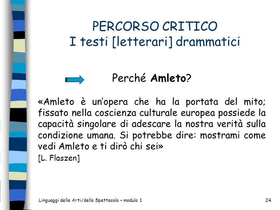 Linguaggi delle Arti/dello Spettacolo – modulo 124 PERCORSO CRITICO I testi [letterari] drammatici Perché Amleto? «Amleto è unopera che ha la portata