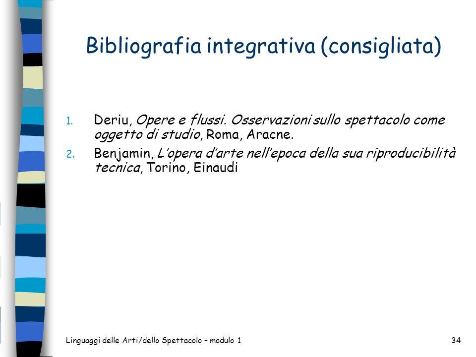 Linguaggi delle Arti/dello Spettacolo – modulo 134 Bibliografia integrativa (consigliata) 1. Deriu, Opere e flussi. Osservazioni sullo spettacolo come