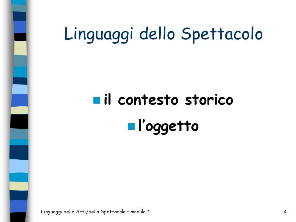 Linguaggi delle Arti/dello Spettacolo – modulo 15 Linguaggi dello Spettacolo il contesto storico: SOCIETA DELLA COMUNICAZIONE loggetto