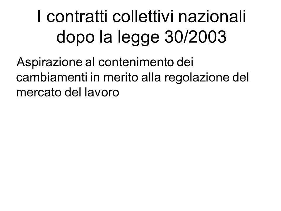 I contratti collettivi nazionali dopo la legge 30/2003 Aspirazione al contenimento dei cambiamenti in merito alla regolazione del mercato del lavoro