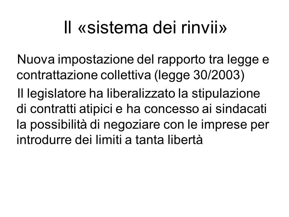 Il «sistema dei rinvii» Nuova impostazione del rapporto tra legge e contrattazione collettiva (legge 30/2003) Il legislatore ha liberalizzato la stipulazione di contratti atipici e ha concesso ai sindacati la possibilità di negoziare con le imprese per introdurre dei limiti a tanta libertà