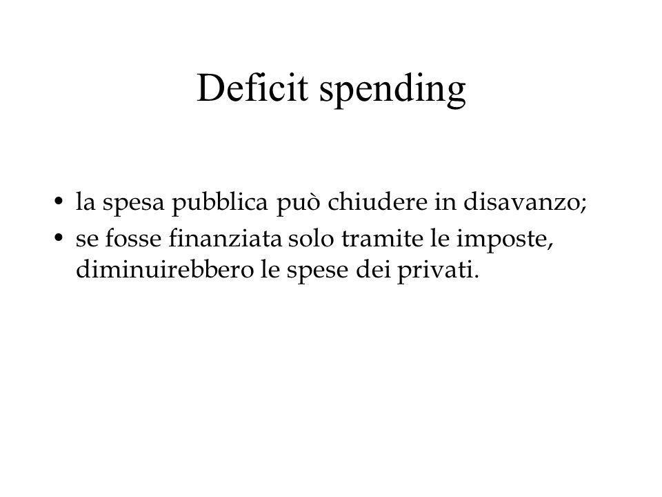 Deficit spending la spesa pubblica può chiudere in disavanzo; se fosse finanziata solo tramite le imposte, diminuirebbero le spese dei privati.