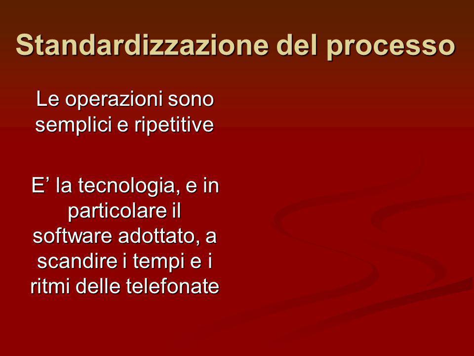 Standardizzazione del processo Le operazioni sono semplici e ripetitive E la tecnologia, e in particolare il software adottato, a scandire i tempi e i