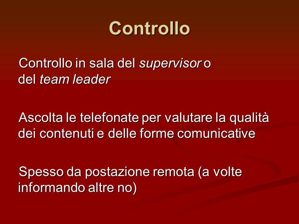 Controllo in sala del supervisor o del team leader Ascolta le telefonate per valutare la qualità dei contenuti e delle forme comunicative Spesso da po