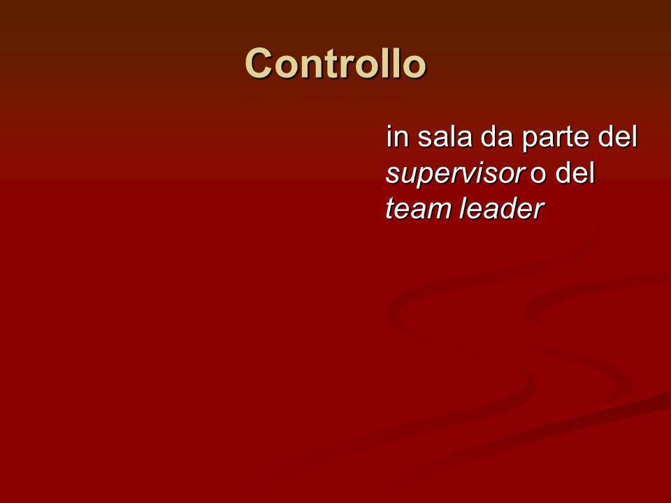 Controllo in sala da parte del supervisor o del team leader