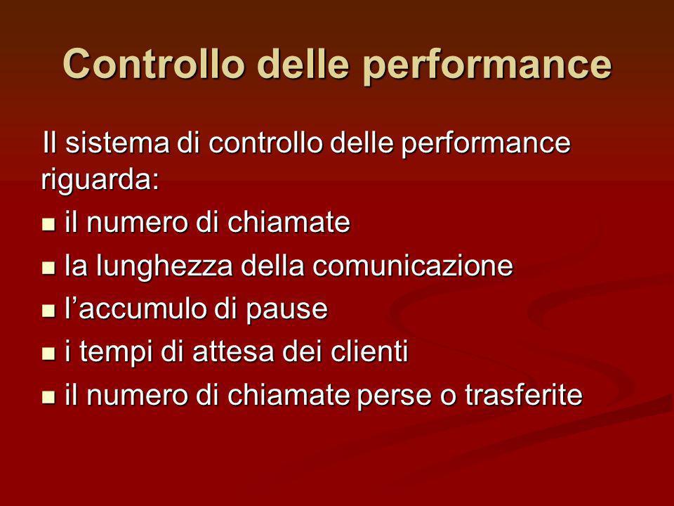 Il sistema di controllo delle performance riguarda: il numero di chiamate il numero di chiamate la lunghezza della comunicazione la lunghezza della co