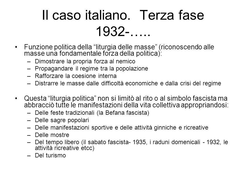 Il caso italiano. Terza fase 1932-….. Funzione politica della liturgia delle masse (riconoscendo alle masse una fondamentale forza della politica): –D