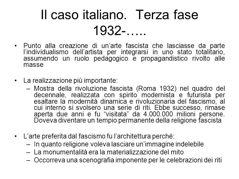 Il caso italiano. Terza fase 1932-….. Punto alla creazione di unarte fascista che lasciasse da parte lindividualismo dellartista per integrarsi in uno