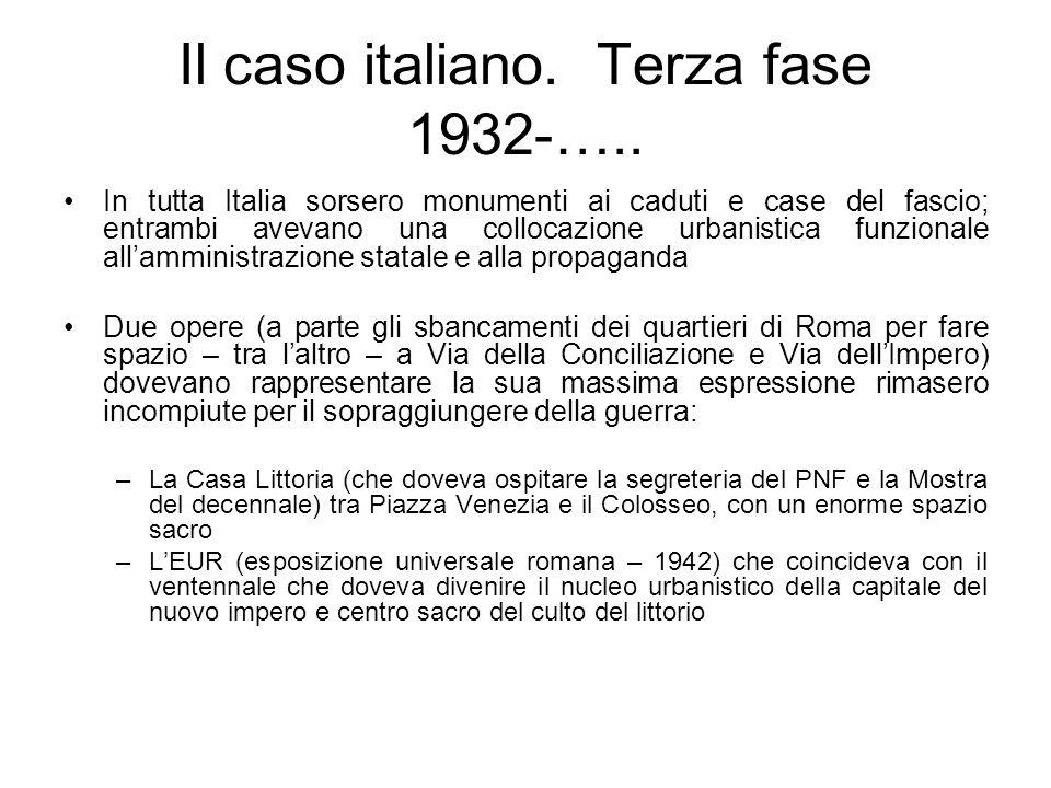 Il caso italiano. Terza fase 1932-….. In tutta Italia sorsero monumenti ai caduti e case del fascio; entrambi avevano una collocazione urbanistica fun
