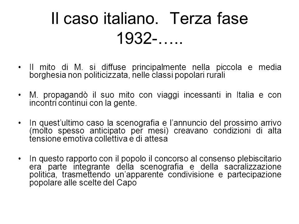 Il caso italiano. Terza fase 1932-….. Il mito di M. si diffuse principalmente nella piccola e media borghesia non politicizzata, nelle classi popolari