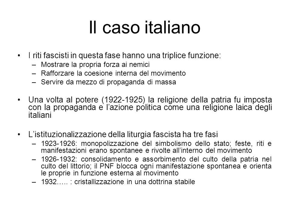 Il caso italiano I riti fascisti in questa fase hanno una triplice funzione: –Mostrare la propria forza ai nemici –Rafforzare la coesione interna del