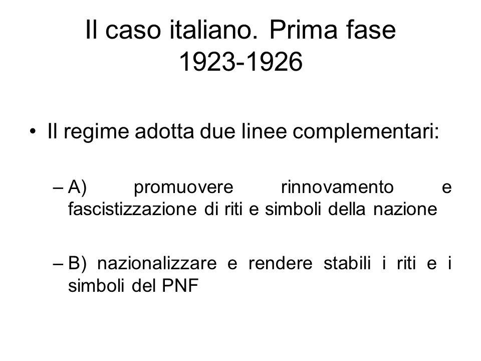 Il caso italiano. Prima fase 1923-1926 Il regime adotta due linee complementari: –A) promuovere rinnovamento e fascistizzazione di riti e simboli dell