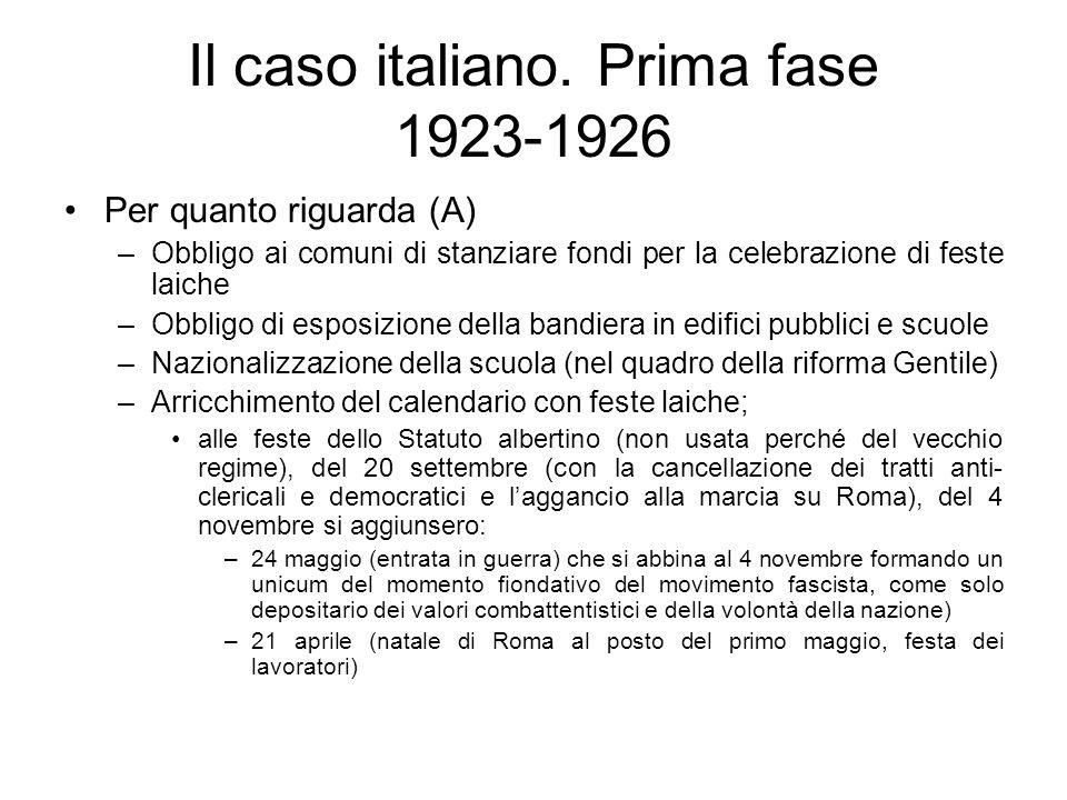 Il caso italiano. Prima fase 1923-1926 Per quanto riguarda (A) –Obbligo ai comuni di stanziare fondi per la celebrazione di feste laiche –Obbligo di e