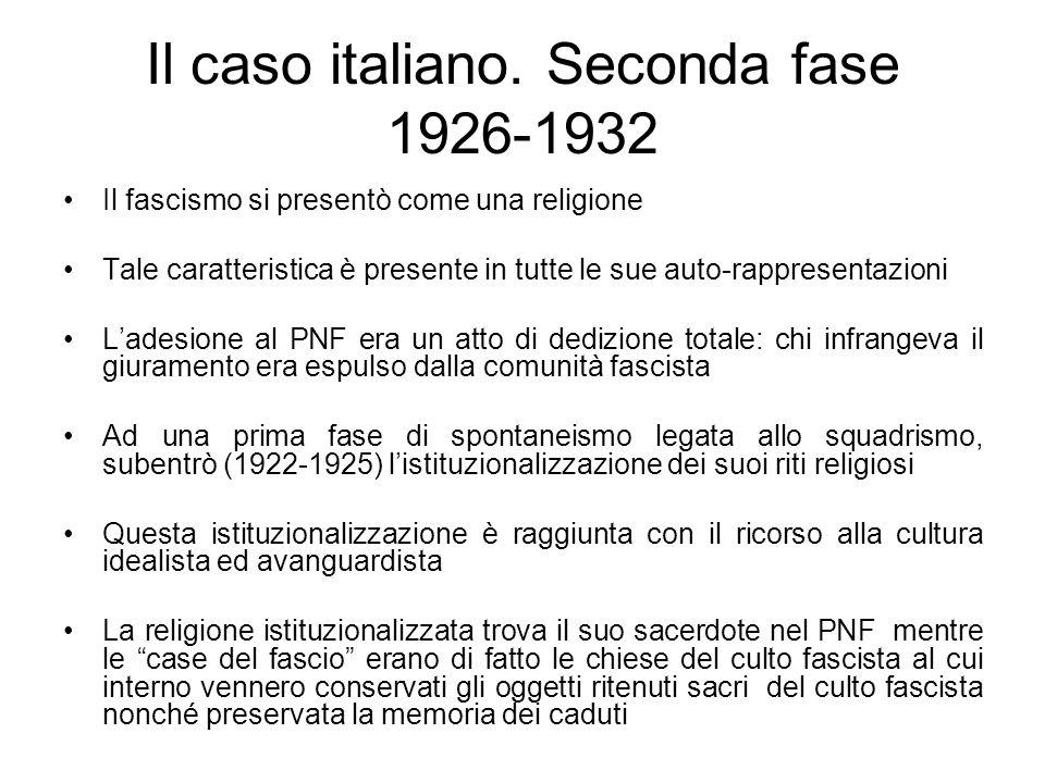 Il caso italiano. Seconda fase 1926-1932 Il fascismo si presentò come una religione Tale caratteristica è presente in tutte le sue auto-rappresentazio