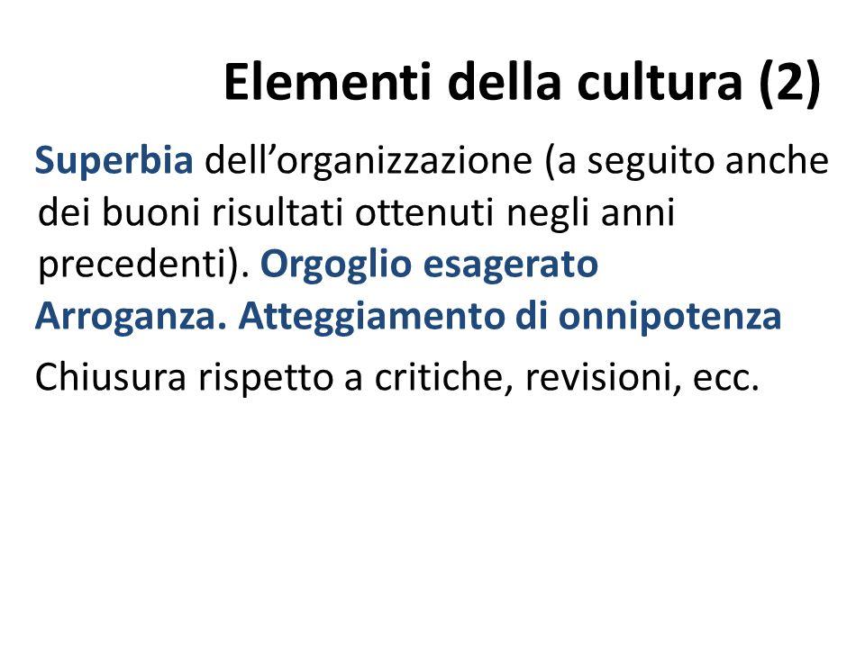 Elementi della cultura (2) Superbia dellorganizzazione (a seguito anche dei buoni risultati ottenuti negli anni precedenti).