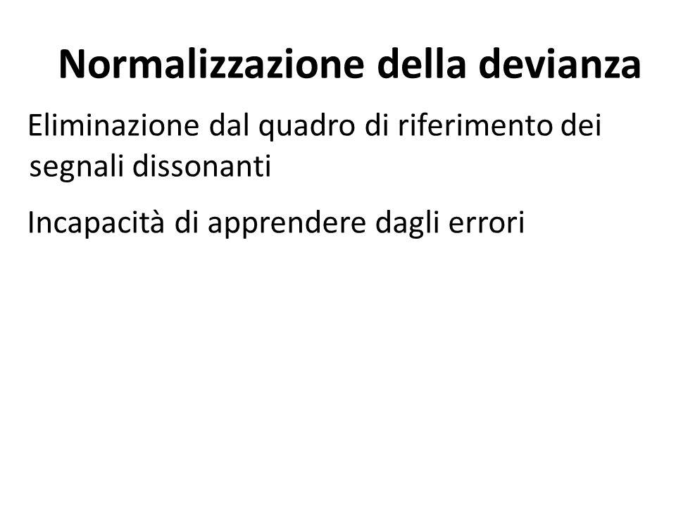 Normalizzazione della devianza Eliminazione dal quadro di riferimento dei segnali dissonanti Incapacità di apprendere dagli errori