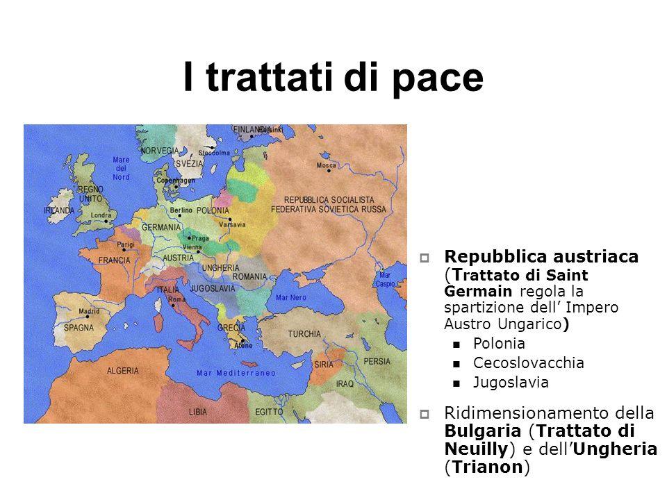 I trattati di pace Repubblica austriaca (T rattato di Saint Germain regola la spartizione dell Impero Austro Ungarico) Polonia Cecoslovacchia Jugoslav