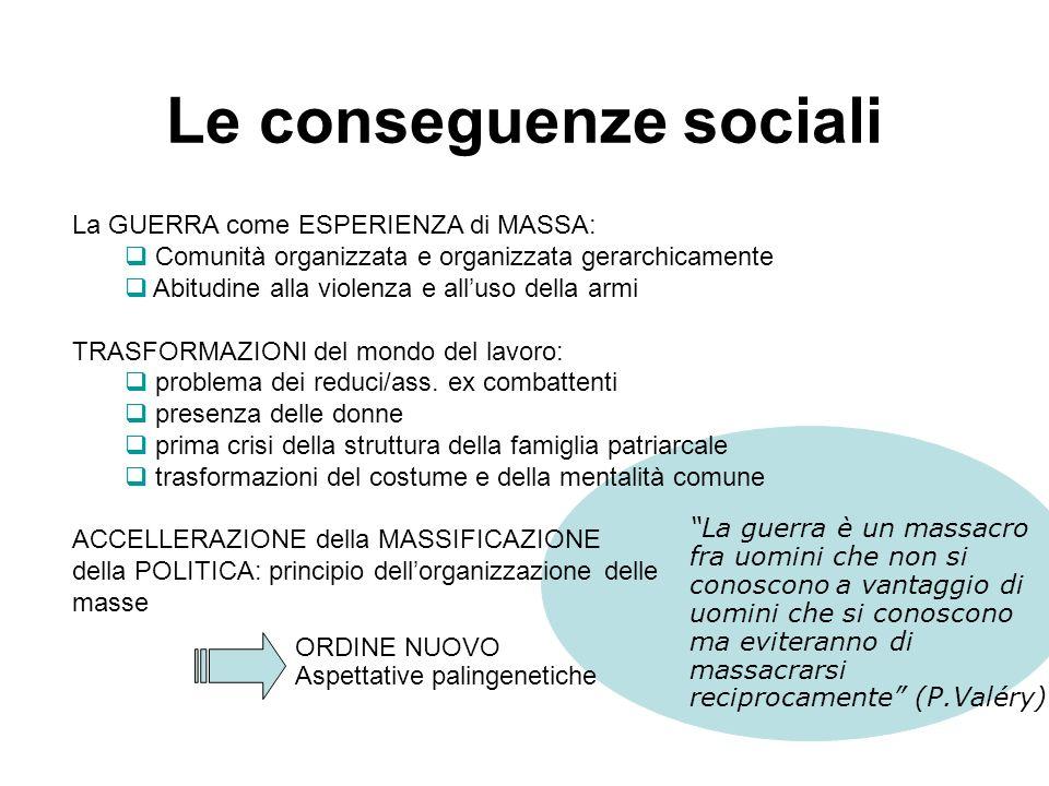 Le conseguenze economiche La GUERRA ad eccezione degli St.