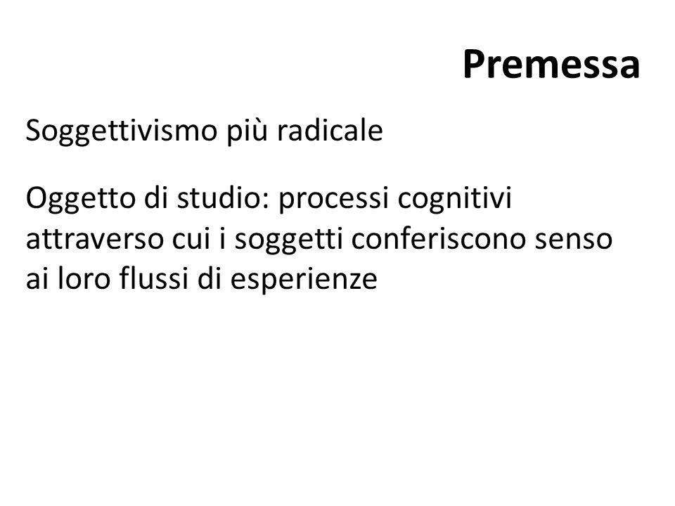 Premessa Soggettivismo più radicale Oggetto di studio: processi cognitivi attraverso cui i soggetti conferiscono senso ai loro flussi di esperienze