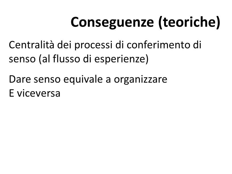 Conseguenze (teoriche) Centralità dei processi di conferimento di senso (al flusso di esperienze) Dare senso equivale a organizzare E viceversa