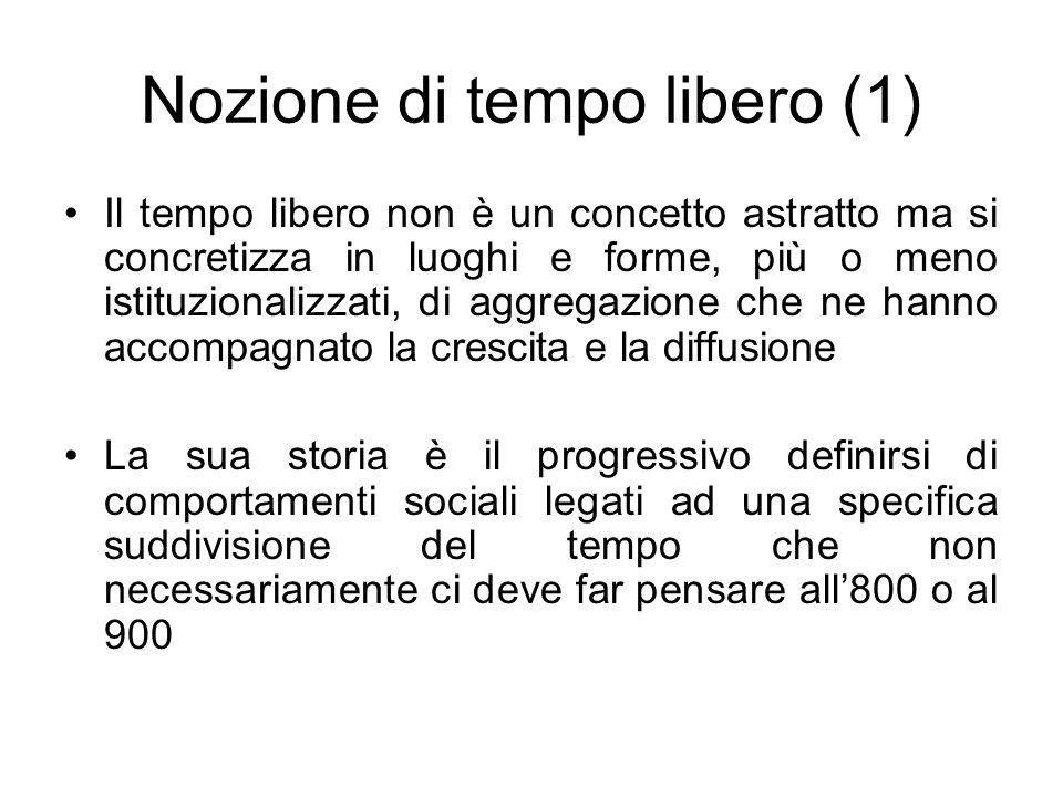 Nozione di tempo libero (1) Il tempo libero non è un concetto astratto ma si concretizza in luoghi e forme, più o meno istituzionalizzati, di aggregaz