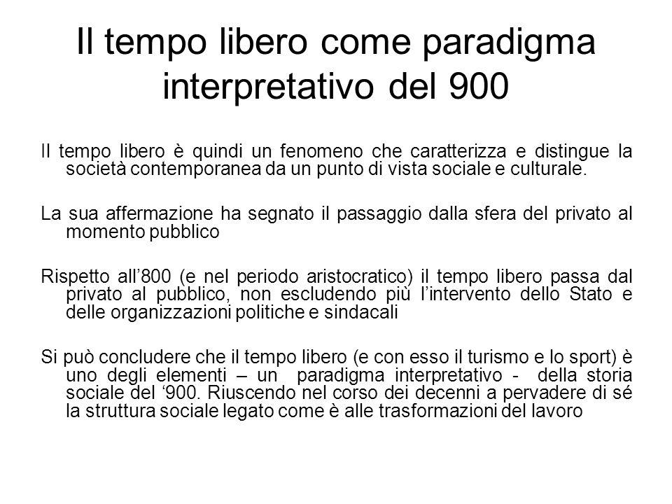 Il tempo libero come paradigma interpretativo del 900 Il tempo libero è quindi un fenomeno che caratterizza e distingue la società contemporanea da un
