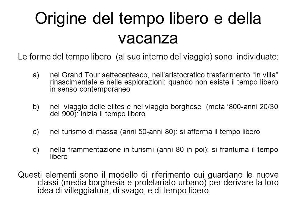 Origine del tempo libero e della vacanza Le forme del tempo libero (al suo interno del viaggio) sono individuate: a)nel Grand Tour settecentesco, nell