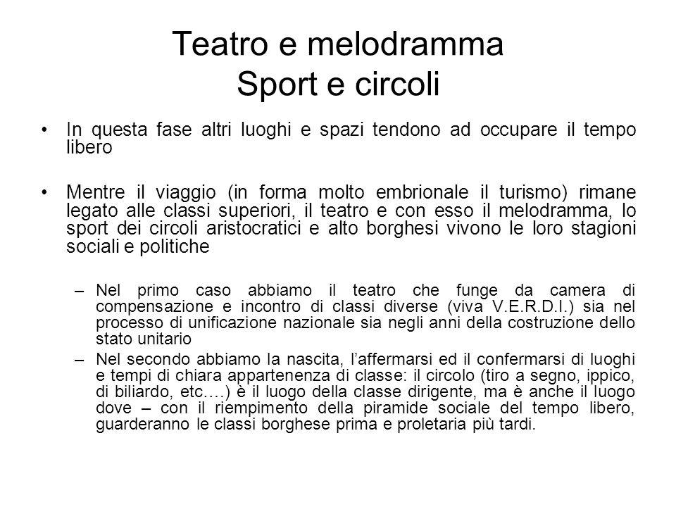 Teatro e melodramma Sport e circoli In questa fase altri luoghi e spazi tendono ad occupare il tempo libero Mentre il viaggio (in forma molto embriona