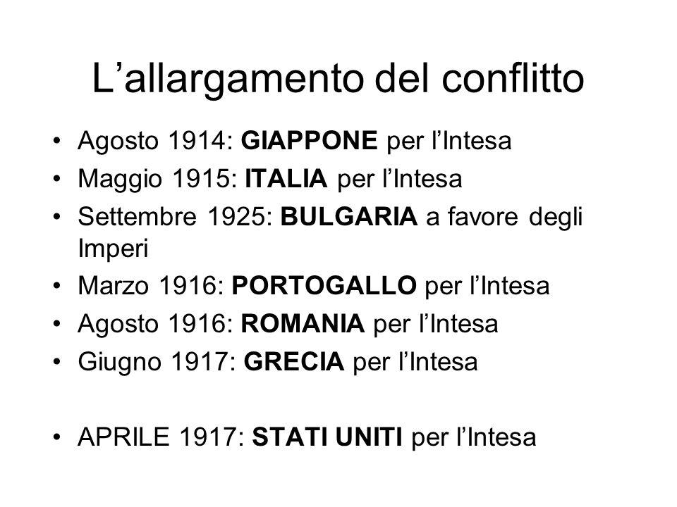 Lallargamento del conflitto Agosto 1914: GIAPPONE per lIntesa Maggio 1915: ITALIA per lIntesa Settembre 1925: BULGARIA a favore degli Imperi Marzo 191