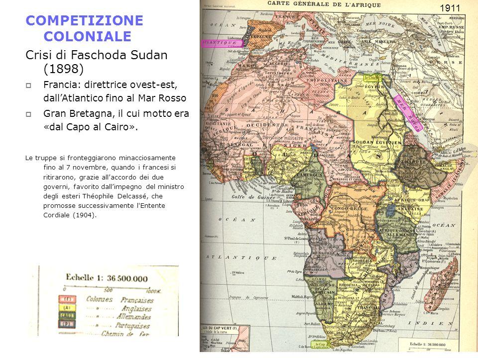COMPETIZIONE COLONIALE Crisi di Faschoda Sudan (1898) Francia: direttrice ovest-est, dallAtlantico fino al Mar Rosso Gran Bretagna, il cui motto era «