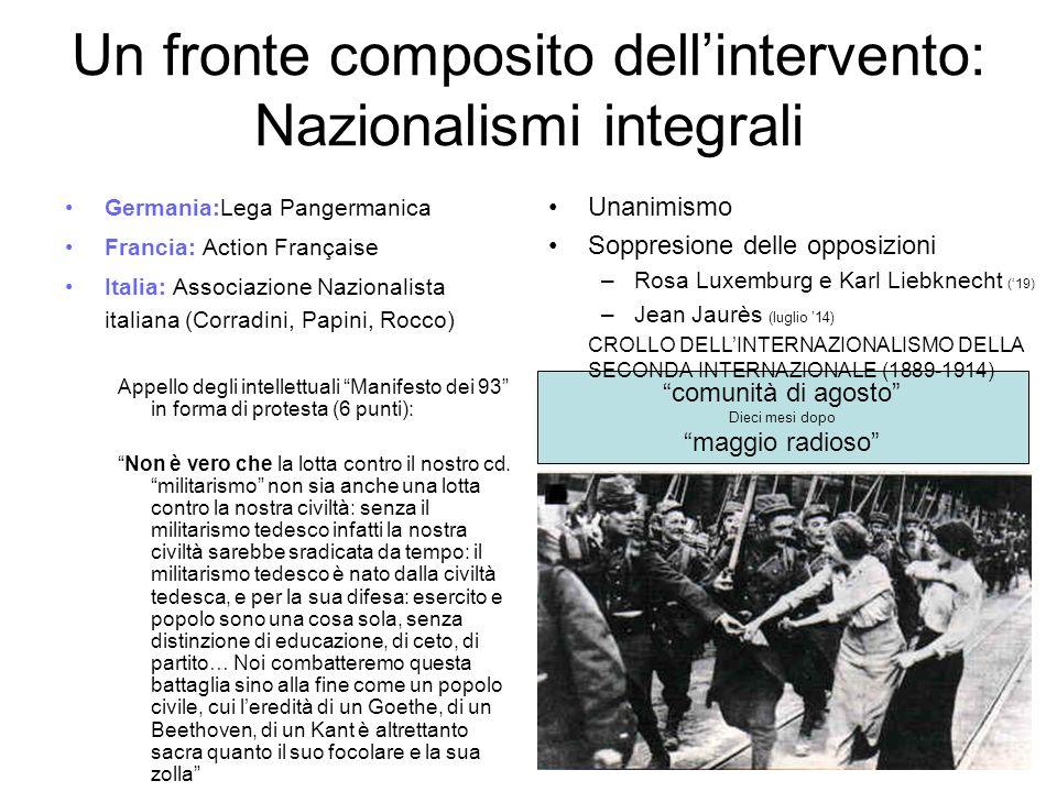 Un fronte composito dellintervento: Nazionalismi integrali Germania:Lega Pangermanica Francia: Action Française Italia: Associazione Nazionalista ital