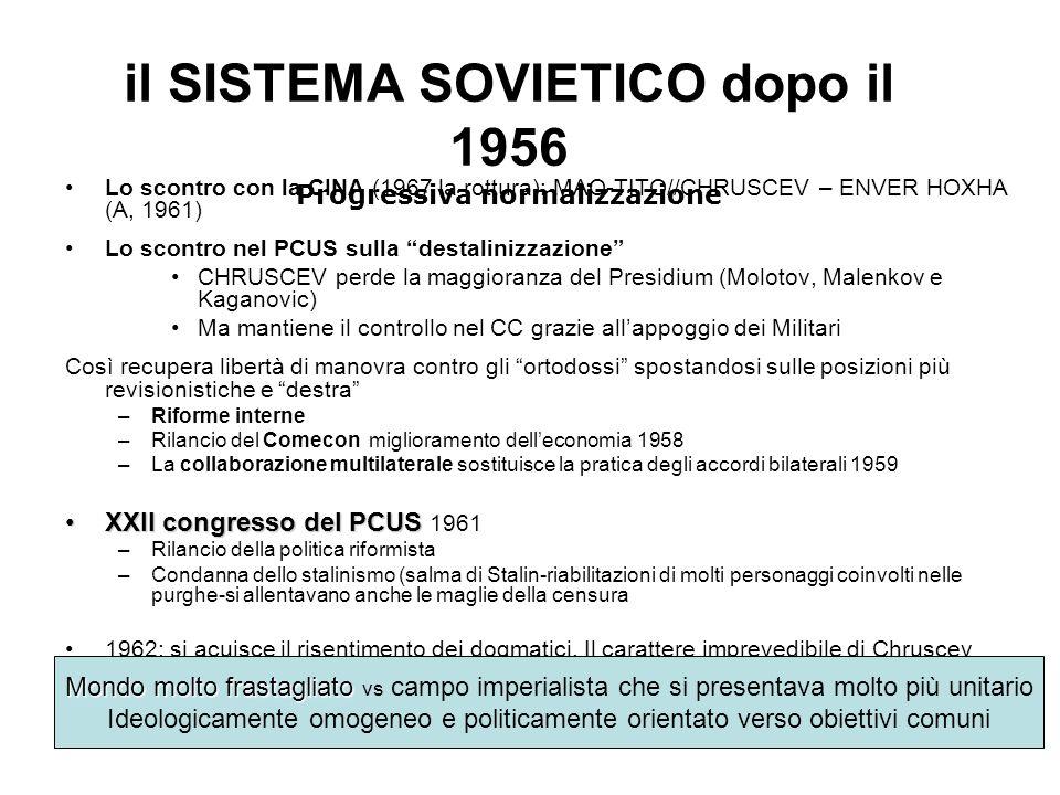 il SISTEMA SOVIETICO dopo il 1956 Progressiva normalizzazione Lo scontro con la CINA (1967 la rottura): MAO-TITO//CHRUSCEV – ENVER HOXHA (A, 1961) Lo