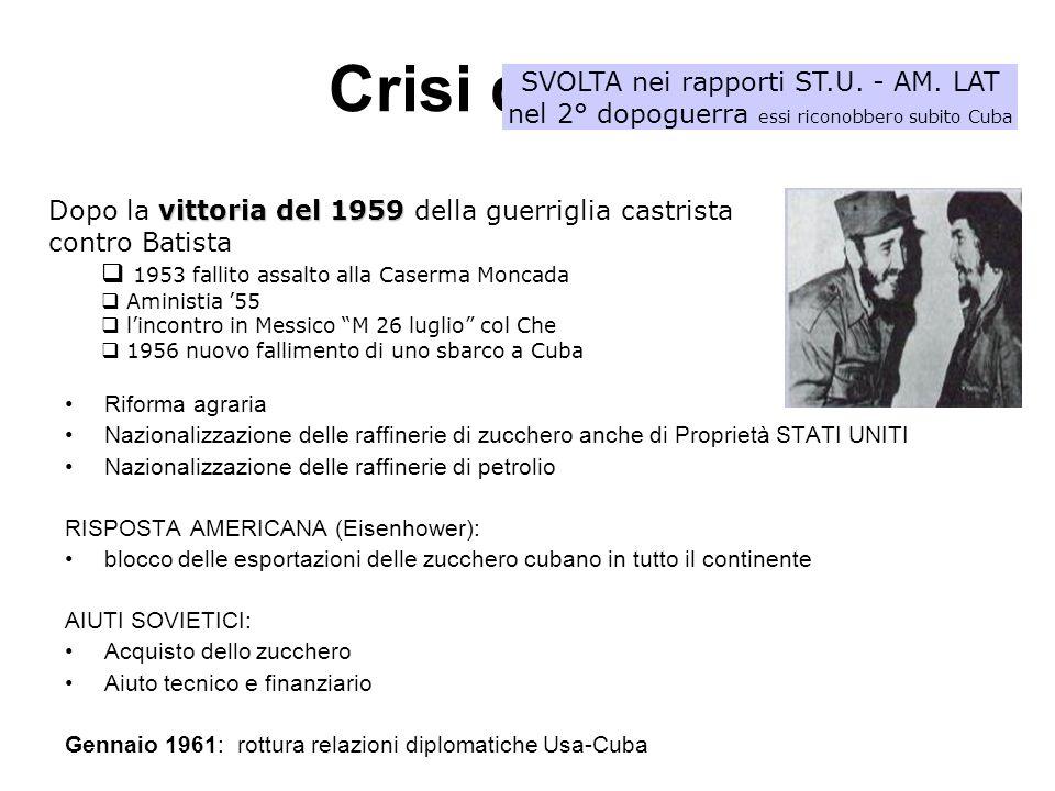 Crisi di Cuba 17 aprile 1961 – Baia dei Porci (gruppo di esuli castristi in esecuzione di un piano ordito dalla CIA si risolse in un vero fallimento BRUTTO COLPO per lAMMINISTRAZIONE KENNEDY 1 maggio 1961 – Repubblica socialista di Cuba Kennedy rispponde rilanciando il piano per un ALIANZA PARA EL PROGRESO (agosto 1961:aiuti allo sviluppo in AM.