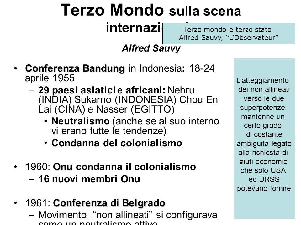 Terzo Mondo sulla scena internazionale Alfred Sauvy Conferenza BandungConferenza Bandung in Indonesia: 18-24 aprile 1955 –29 paesi asiatici e africani