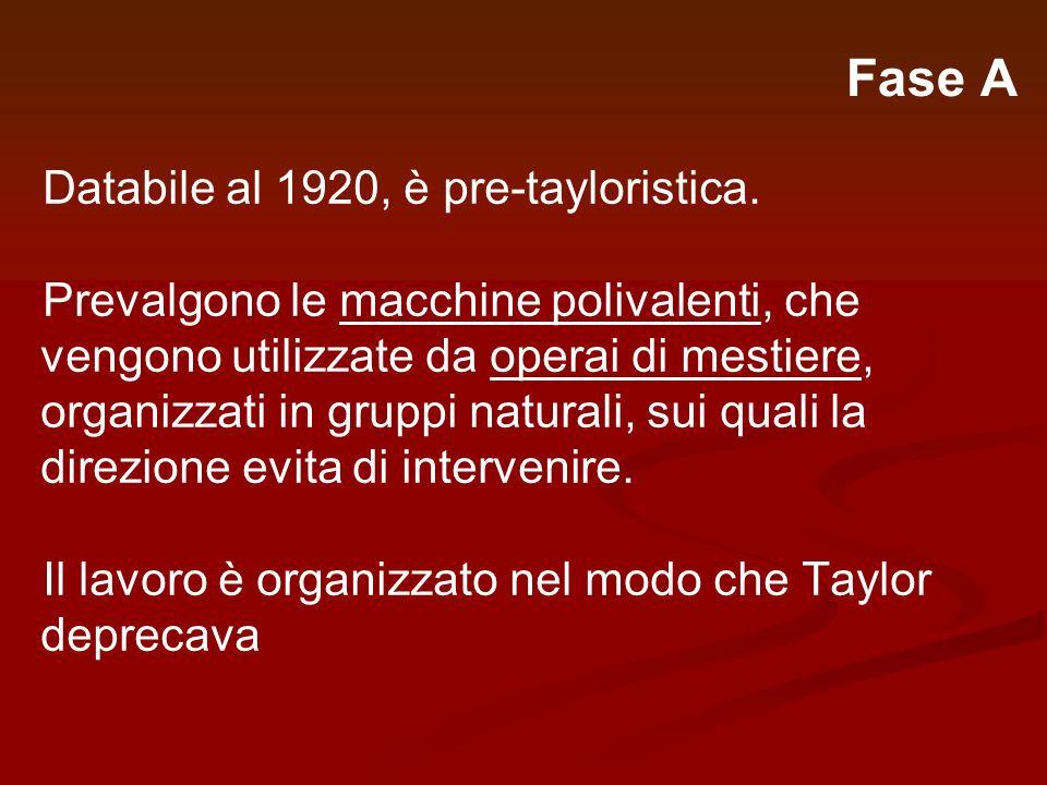 Fase A Databile al 1920, è pre-tayloristica. Prevalgono le macchine polivalenti, che vengono utilizzate da operai di mestiere, organizzati in gruppi n