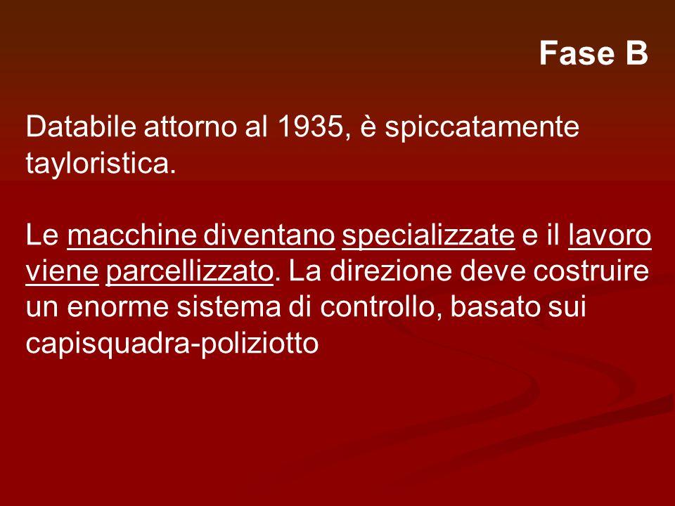 Fase B Databile attorno al 1935, è spiccatamente tayloristica. Le macchine diventano specializzate e il lavoro viene parcellizzato. La direzione deve