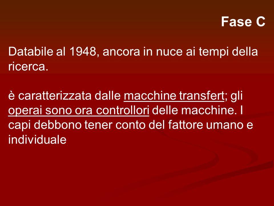 Fase C Databile al 1948, ancora in nuce ai tempi della ricerca. è caratterizzata dalle macchine transfert; gli operai sono ora controllori delle macch