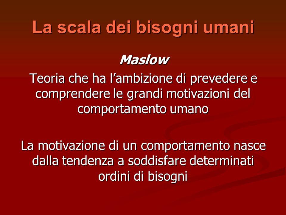 La scala dei bisogni umani Maslow Teoria che ha lambizione di prevedere e comprendere le grandi motivazioni del comportamento umano La motivazione di